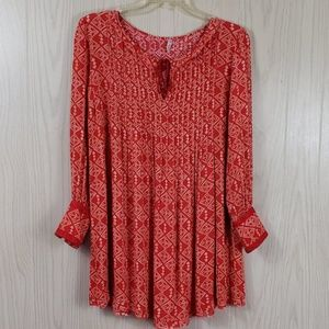 Free People Tunic Red Dress Boho Festival